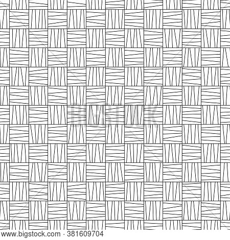Black And White Contour Seamless Pattern Of Uncolored Striped Squares For Page Of Coloring Book. Con