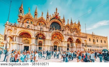 Venice, Italy - May 12, 2017 : Square Of The Holy Mark (piazza San Marco) And St. Mark's Cathedral (