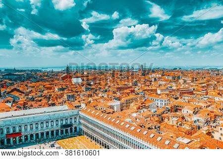Panoramic View Of Venice From The Campanile Tower Of St. Mark's Cathedral-  St. Mark's Square (piazz