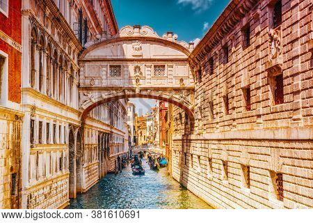 Venice, Italy- May 12, 2017 : Views Of The Most Beautiful Channels Of Venice, With Gondolas And Gond