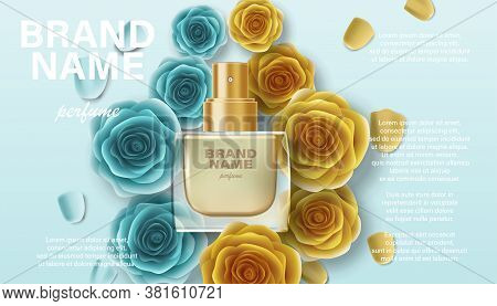Cosmetics Product Perfume Advertising For Your Design. Branding Package Template For Promotion, Bann