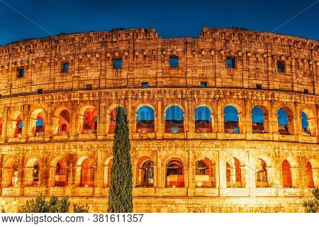 Beautiful Landscape Of The Colosseum In Rome- One Of Wonders Of The World  In The Evening Time. Ital