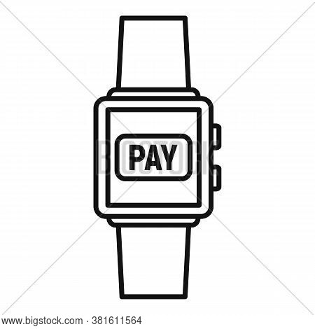 Smartwatch Digital Wallet Icon. Outline Smartwatch Digital Wallet Vector Icon For Web Design Isolate