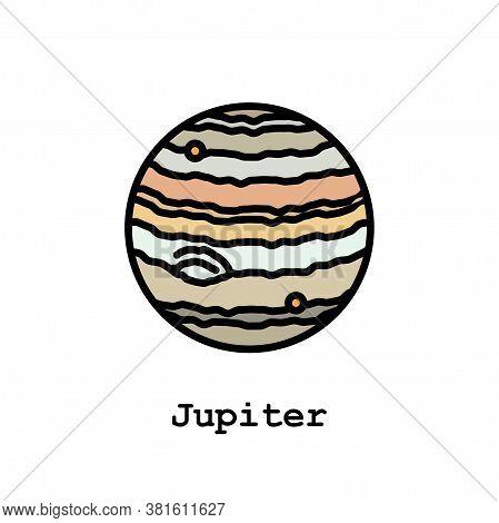 Jupiter Planet Color Icon Thin Line, Linear, Outline Vector. Jupiter Planet Simple Sign, Logo