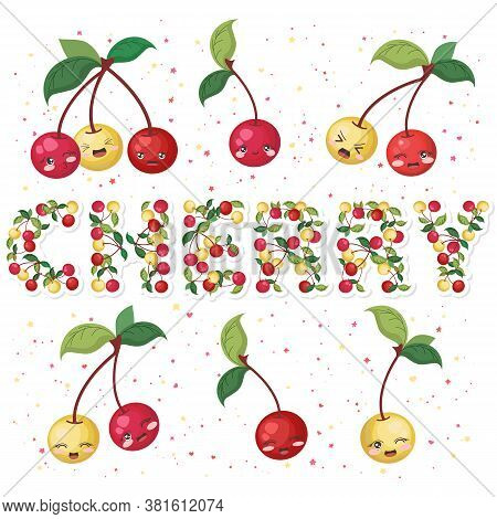 Vector Illustration Of Cute Smiling Cherry Cartoon Characters And Lettering Made From Cherries And L