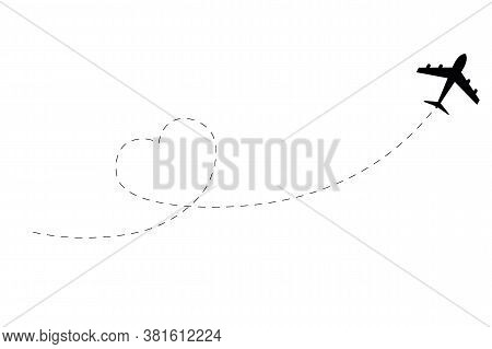 Airplane Dotted Route Line. Airplane Route Path Icon. Airplane Route In Heart Shape. Romantic Travel