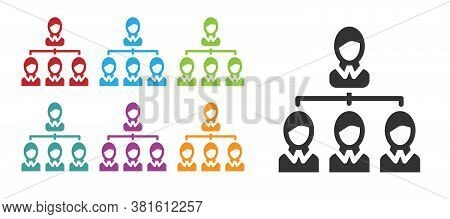 Black Business Hierarchy Organogram Chart Infographics Icon Isolated On White Background. Corporate
