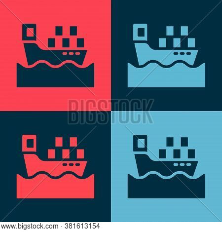 Pop Art Cargo Ship With Boxes Delivery Service Icon Isolated On Color Background. Delivery, Transpor