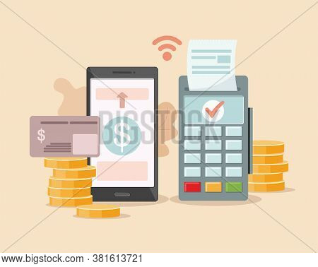Pos-terminal Payment And Financial Transactions. Online And Mobile Payments Concept. Vector Illustra
