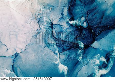 Blue Acrylic Ink. Marble Texture. Frozen Water Surface With White Snow Effect. Fractured Crystal Ice