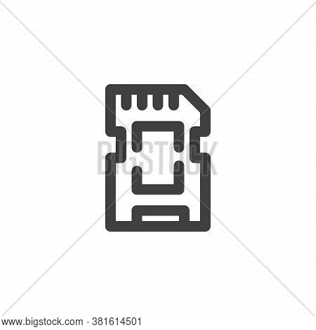Micro Sd Card Line Icon. Linear Style Sign For Mobile Concept And Web Design. Memory Sd Card Outline