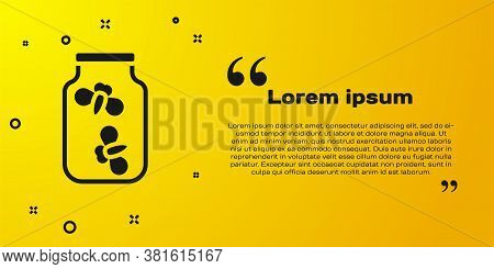 Black Fireflies Bugs In A Jar Icon Isolated On Yellow Background. Vector