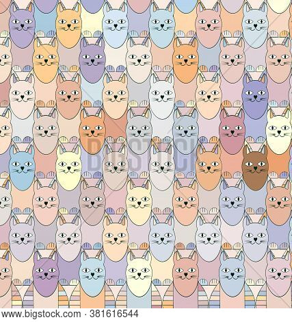 Background With Image Fantasy Abstract Colored Cats
