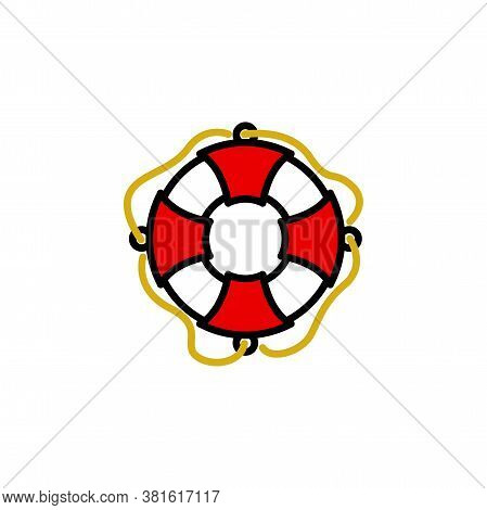 Lifebuoy Linear Vector Icon. Sos And Safety Ring Line Thin Sign. Life Buoy Outline Symbol. Life Save