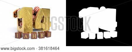 Inscription In German 14 Years, Consisting Of A Gold Number Fourteen And Round Candies Filling The N