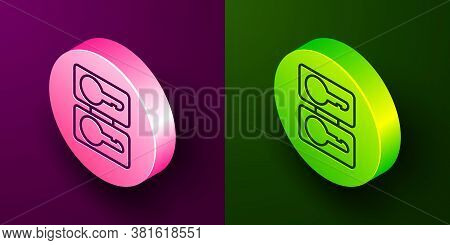 Isometric Line Metal Mold Plates For Casting Keys Icon Isolated On Purple And Green Background. Set
