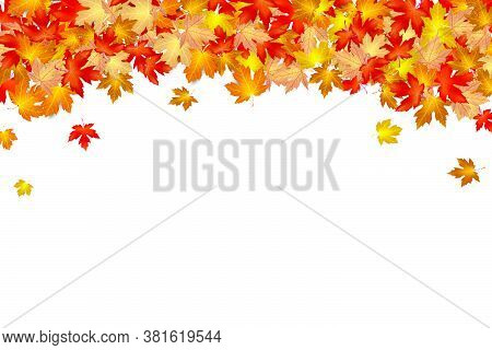 Autumn Leaf Falling On A White Background, Dry Of Maple Leaf, For Autumn Design Element, Vector Illu