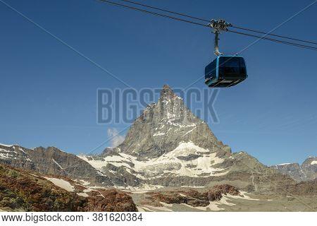 Landscape With Mount Matterhorn At Trockener Steg Over Zermatt In The Swiss Alps