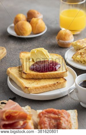 Spanish Breakfast, Crusty  French Toast With Butte And  Magdalena (spanish Cupcake) , Ccoffee And Or