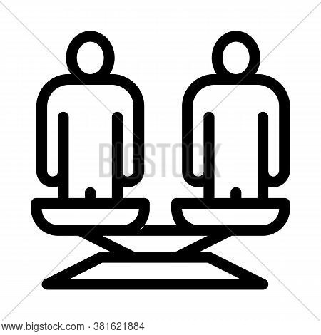 Different Race Human Balance On Scales Icon Vector. Different Race Human Balance On Scales Sign. Iso