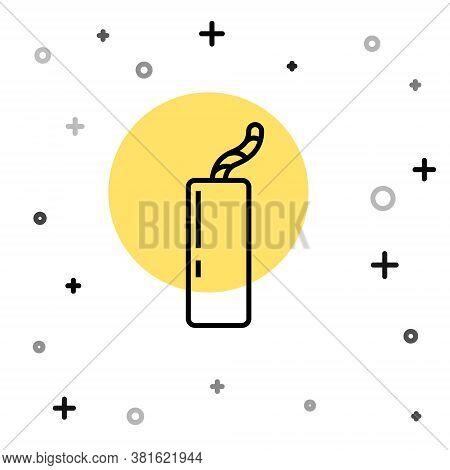 Black Line Detonate Dynamite Bomb Stick And Timer Clock Icon Isolated On White Background. Time Bomb