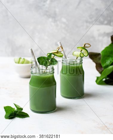 Green Smoothie. Glass. The Concept Of A Healthy Lifestyle.