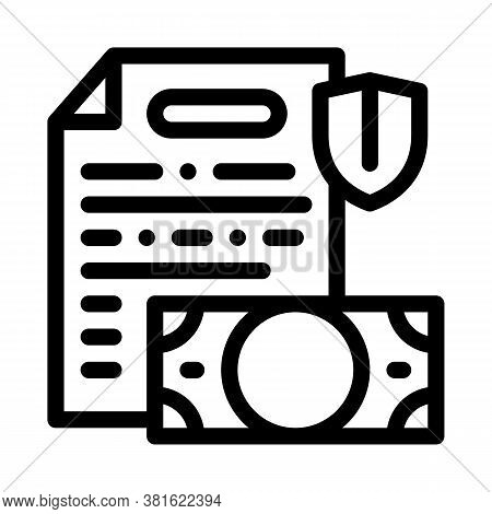 Money Banknote And Insurance Agreement Icon Vector. Money Banknote And Insurance Agreement Sign. Iso