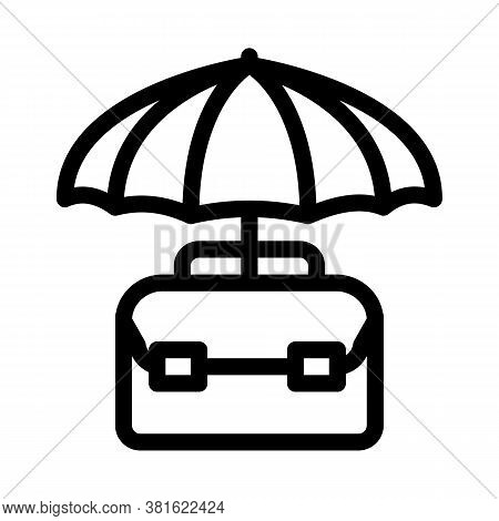 Business Case Protect With Umbrella Icon Vector. Business Case Protect With Umbrella Sign. Isolated