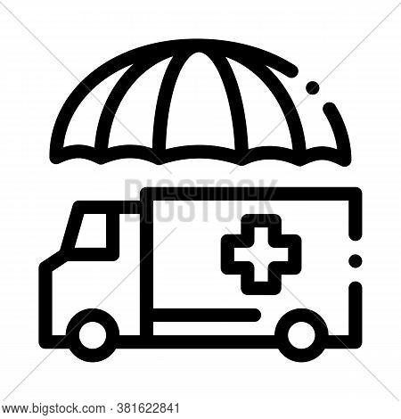 Emergency Ambulance Car Icon Vector. Emergency Ambulance Car Sign. Isolated Contour Symbol Illustrat