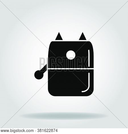 Logo Or Symbol Of Pencil Sharpener Icon With Black Fill Style