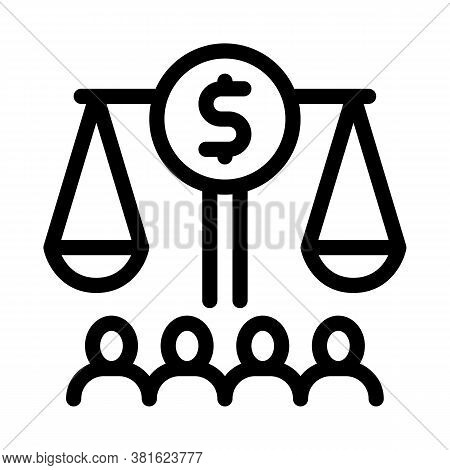 Scales With Money Nd Businesspeople Icon Vector. Scales With Money Nd Businesspeople Sign. Isolated