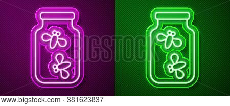 Glowing Neon Line Fireflies Bugs In A Jar Icon Isolated On Purple And Green Background. Vector