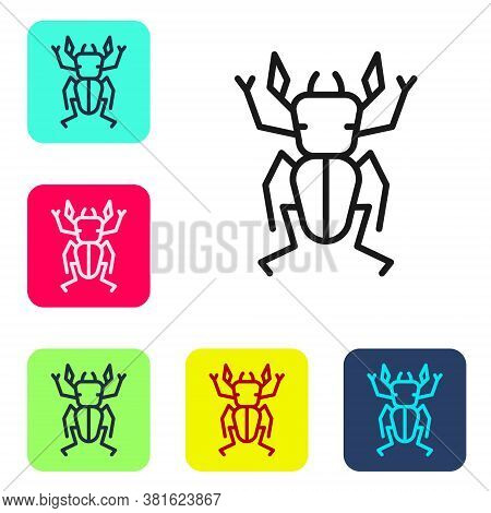 Black Line Beetle Deer Icon Isolated On White Background. Horned Beetle. Big Insect. Set Icons In Co