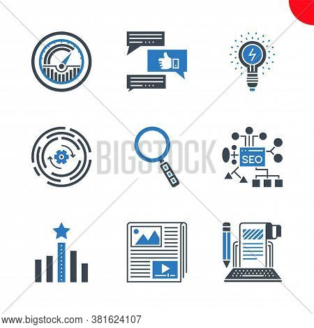 Seo Related Vector Glyph Icons Set. Isolated On White Background. Seo Planing, Article Submission, T