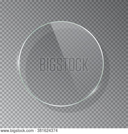 Realistic 3d Circle Glass Frame Isolated On Grey Transparent Background. Creative Border Plate Objec