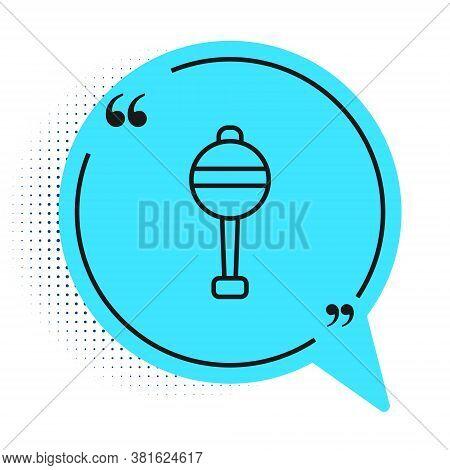 Black Line Rattle Baby Toy Icon Isolated On White Background. Beanbag Sign. Blue Speech Bubble Symbo