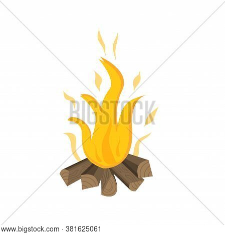 Campfire For Camping And Outdoor Recreation Is Isolated On A White Background. Vector Illustration I