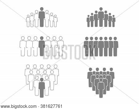 Vector Group Of People - Vector Set With Isolated Working Team Or People Group - Silhouette And Outl
