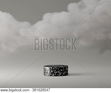3d Black Terrazzo Rock Pedestal Podium On Grey Background. Gray Clouds Levitating. Abstract, Beauty