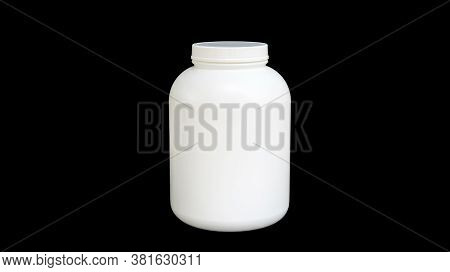 The White Canned Of Whey Protein On A Black Background.