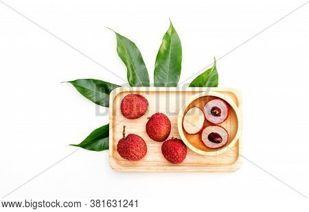 Fresh Red Litchi On A White Background.
