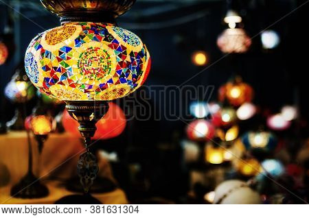 Traditional Turkish Glass Lantern Hanging From A Market Stall