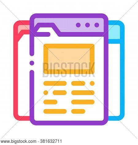 Different Pages Of Web Site Project Icon Vector. Different Pages Of Web Site Project Sign. Color Sym