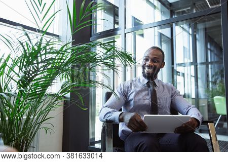 Young Businessman After Arriving. Comfortable Airport, Work Trip, Business Lifestyle. African-americ