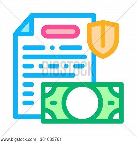 Money Banknote And Insurance Agreement Icon Vector. Money Banknote And Insurance Agreement Sign. Col