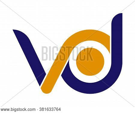 Stylized Lowercase Letters V And D Are Linked By A Single Line For A Logo, Monogram, Or Monogram. Ve