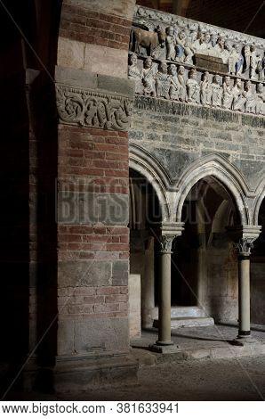 Albugnano, Italy - July 24, 2016 - Romanesque Sculpture In The Abbey Of Santa Maria Di Vezzolano, In