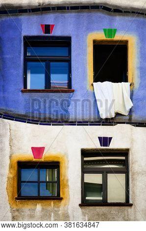 Vienna, Austria - May 22, 2017: The Famous Hundertwasserhaus, Modern Residential Building And Landma
