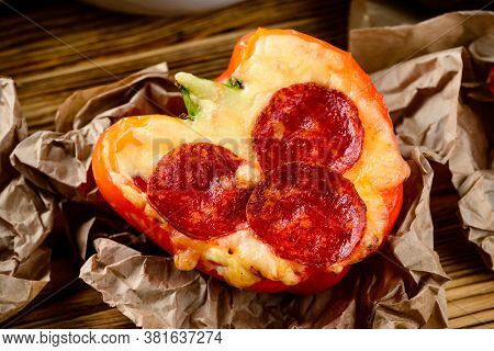 Salami With Cheese Baked In Red Pepper, Recipe, Crunchy Slice Of Baked In Oven Topped With Salami Sl
