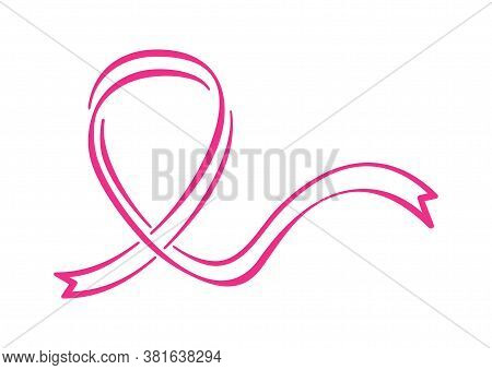 Breast Cancer Awareness Month Symbol - Pink Ribbon In Hand-drawn Style - Isolated Poster Element